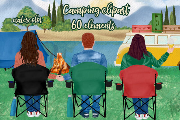 Camping Clipart Best Friends Camping Graphic Illustrations By LeCoqDesign - Image 1