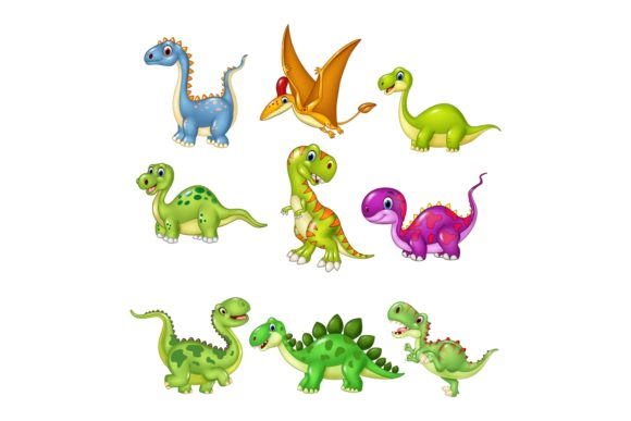 Cartoon Dinosaur Character Bundle Graphic Illustrations By tigatelusiji