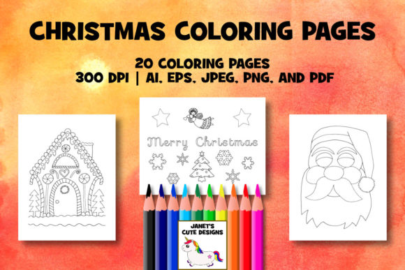 Print on Demand: Christmas Coloring Pages - Hand-Drawn Graphic Coloring Pages & Books By Janet's Cute Designs