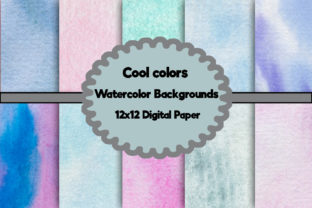 Print on Demand: Cool Colors Watercolor Backgrounds Graphic Crafts By A Design in Time