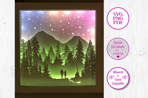 Couple Forest Walk 3D Shadow Box Graphic