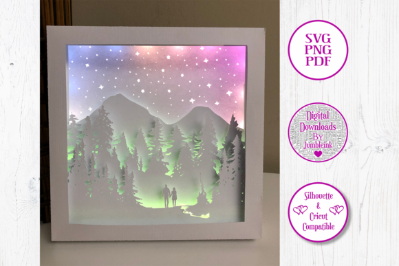 Couple Forest Walk 3D Shadow Box Graphic Download