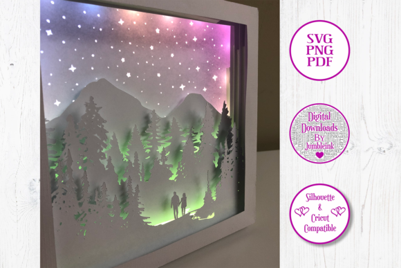 Couple Forest Walk 3D Shadow Box Graphic Item