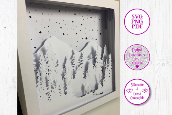 Couple Forest Walk 3D Shadow Box Graphic Preview