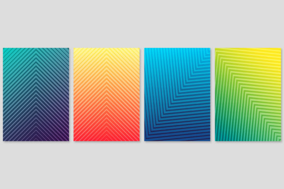 Cover Template Set with Abstract Lines Graphic Backgrounds By medelwardi