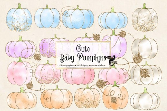 Print on Demand: Cute Baby Pumpkins Clipart Graphic Illustrations By Digital Curio