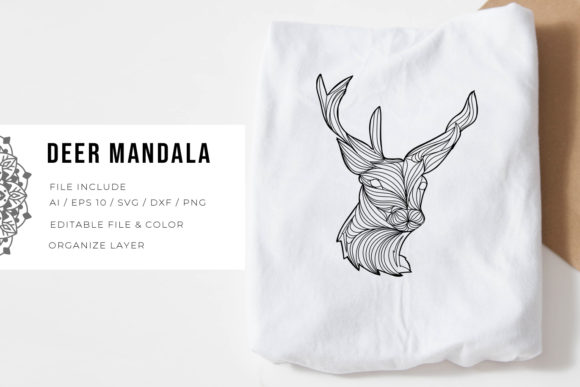 Print on Demand: Deer | Mandala Graphic Crafts By Vunira