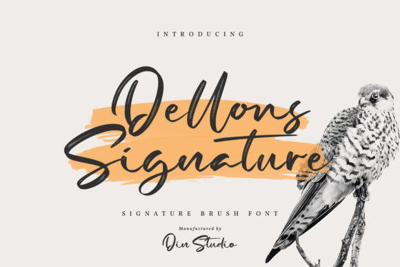 Print on Demand: Dellons Signature Script & Handwritten Font By Din Studio