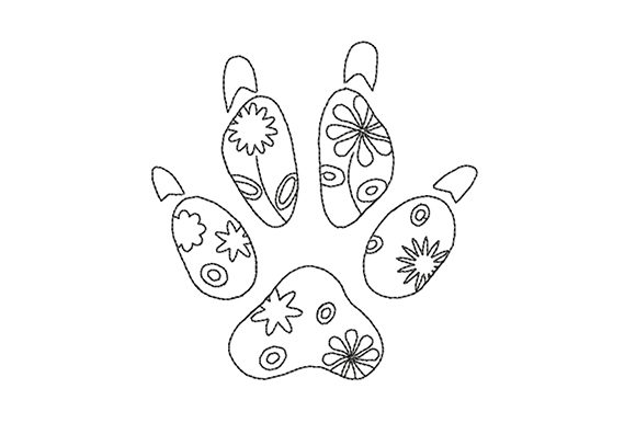 Print on Demand: Dog Paw Prints with Flowers Outline Flowers Embroidery Design By EmbArt
