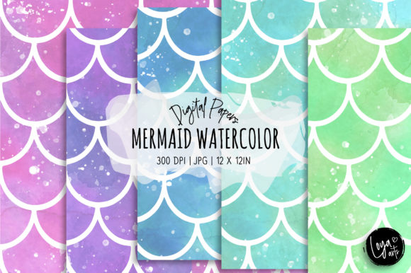 Print on Demand: Fantasy Mermaid Watercolor Digital Paper Graphic Backgrounds By loyaarts
