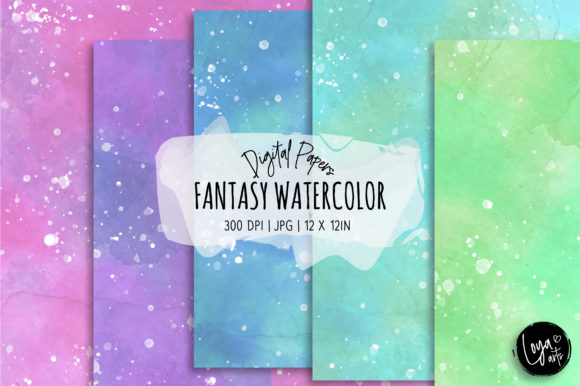 Print on Demand: Fantasy Watercolor Digital Paper Set Graphic Backgrounds By loyaarts