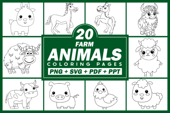 Print on Demand: Farm Animals Clipart Bundle Graphic Coloring Pages & Books Kids By Fayne - Image 1