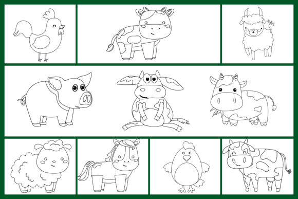 Print on Demand: Farm Animals Clipart Bundle Graphic Coloring Pages & Books Kids By Fayne - Image 2