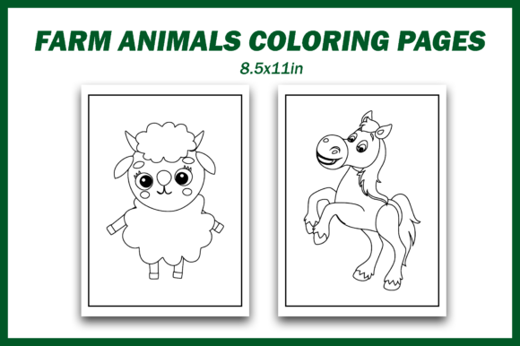 Print on Demand: Farm Animals Clipart Bundle Graphic Coloring Pages & Books Kids By Fayne - Image 3