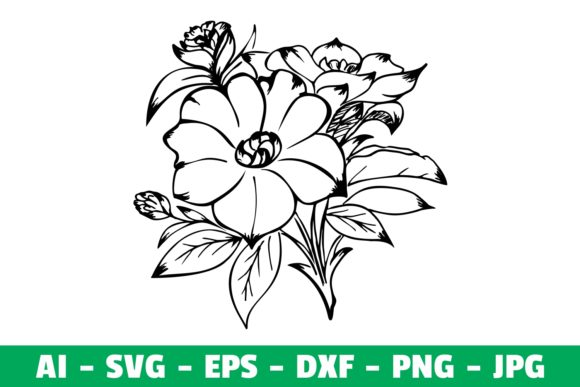 Print on Demand: Flowers Clipart Silhouette Graphic Crafts By Girinesia