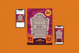 Halloweeen Flyer Set Graphic Print Templates By ihsanshihab.design