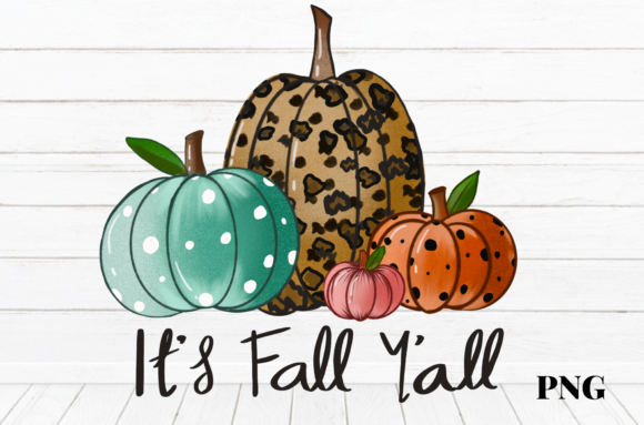 Print on Demand: Halloween It's Fall Y'all Pumpkins Gráfico Ilustraciones Por Suda Digital Art