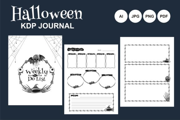 Print on Demand: Halloween KDP Daily Journal Illustration Graphic KDP Interiors By edywiyonopp