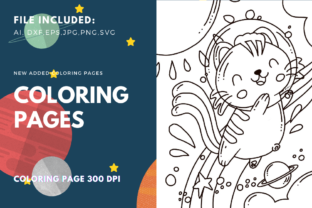 Print on Demand: Happy Space Cat Coloring Page Graphic Coloring Pages & Books Kids By stanosh