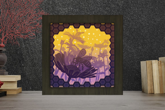 Honey Bee Light Box Shadow Box Graphic 3D Shadow Box By LightBoxGoodMan
