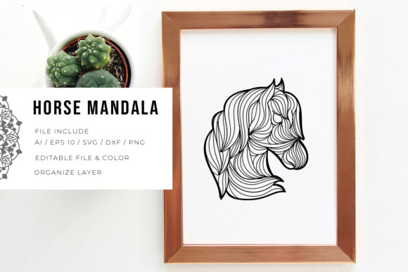 Print on Demand: Horse | Mandala Graphic Crafts By Vunira