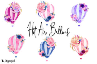 Print on Demand: Hot Air Balloon Floral Clipart Graphic Illustrations By CatgoDigital