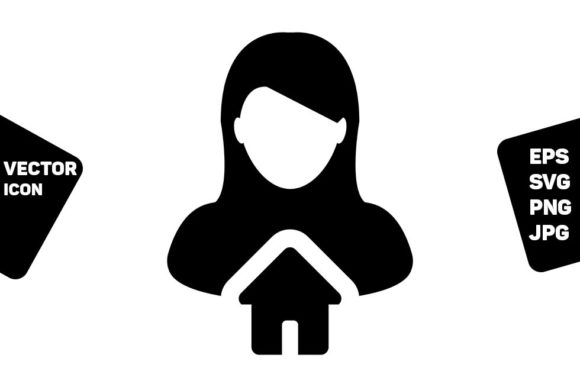 Print on Demand: House Icon Vector with Person Profile Graphic Icons By TukTuk Design