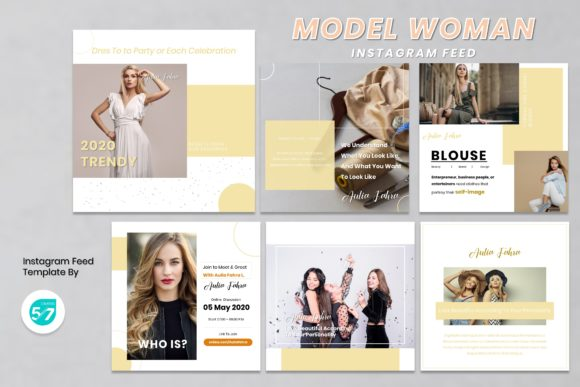 Instagram Feed Template - Woman Model Graphic Presentation Templates By 57creative