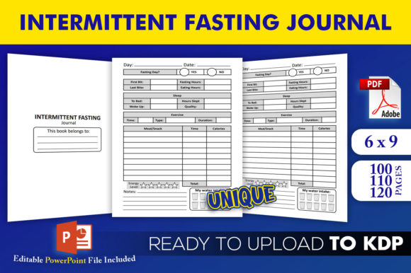 Print on Demand: Intermittent Fasting Journal KDPInterior Graphic KDP Interiors By Beast Designer - Image 1