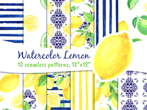 Lemon Seamless Patterns Watercolor Gráfico Moldes Por artpanda2018