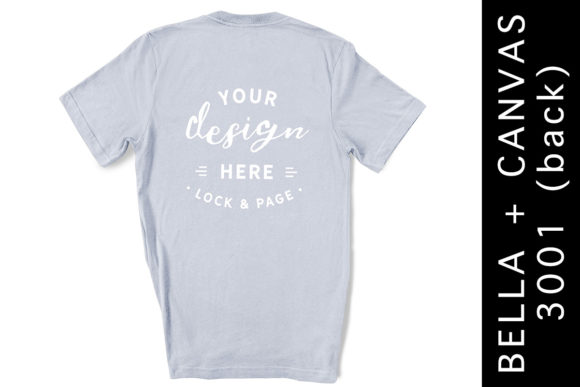 Light Blue Bella Canvas 3001 T-Shirt Back Graphic Product Mockups By lockandpage