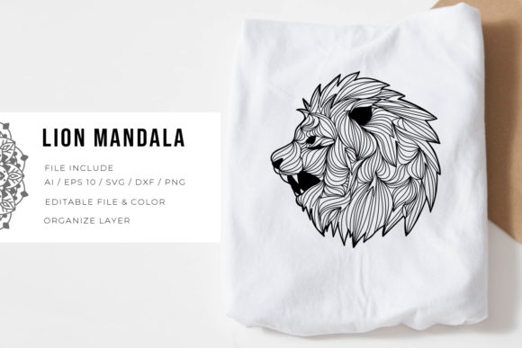 Print on Demand: Lion | Mandala Graphic Crafts By Vunira