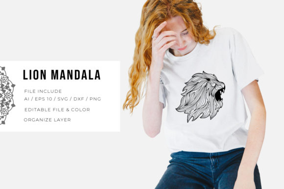 Print on Demand: Lion | Mandala Grafik Plotterdateien von Vunira