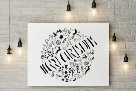 Merry Christmas Hand Drawn Lettering. Graphic Illustrations By baigern