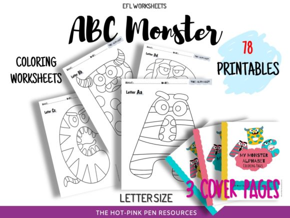 Print on Demand: Monster ABC Coloring Pages | Printables Graphic Teaching Materials By joselynobelmejias