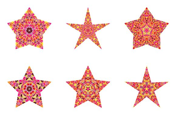 Mosaic Ornament Star Logo Template Set Graphic Objects By davidzydd