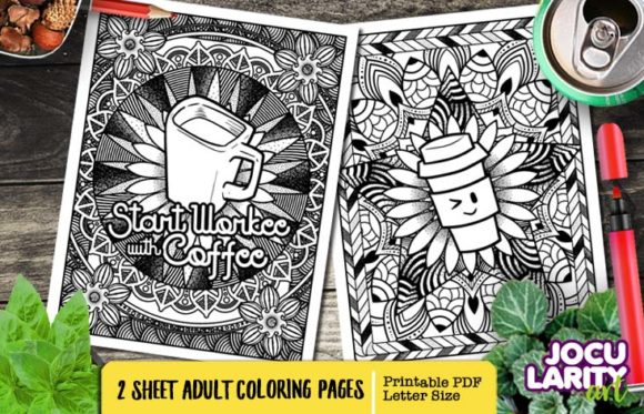 No Coffee No Workee Adult Coloring Page Graphic Coloring Pages & Books Adults By JocularityArt