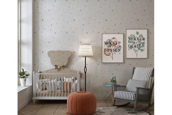 Nursery Room with Frame Poster Mockup Graphic Product Mockups By izharartendesign