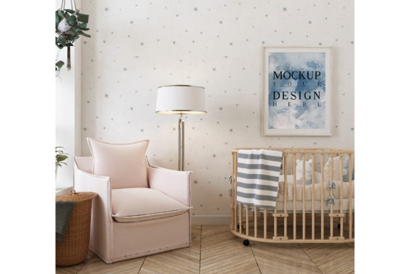 Nursery Room with Mockup Frame Poster Graphic Product Mockups By izharartendesign