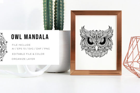 Print on Demand: Owl | Mandala Grafik Plotterdateien von Vunira