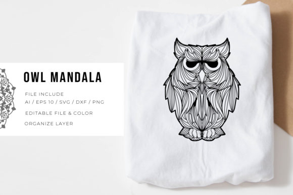 Print on Demand: Owl | Mandala Graphic Crafts By Vunira