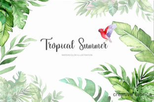 Watercolor Tropical Summer Clipart Graphic Illustrations By Julia Bogdan