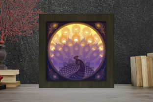 Print on Demand: Peacock Light Box Shadow Box Graphic 3D Shadow Box By LightBoxGoodMan