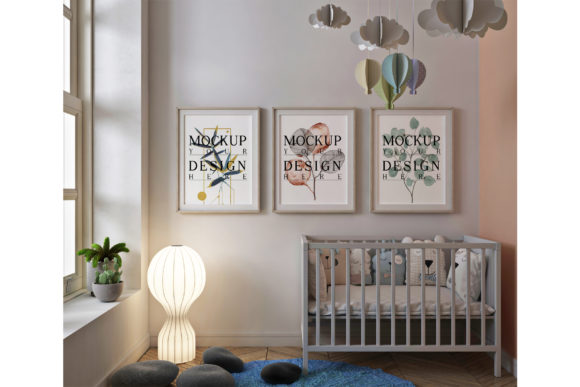 Photo Frame Mockup in Cute Nursery Room Graphic Product Mockups By izharartendesign