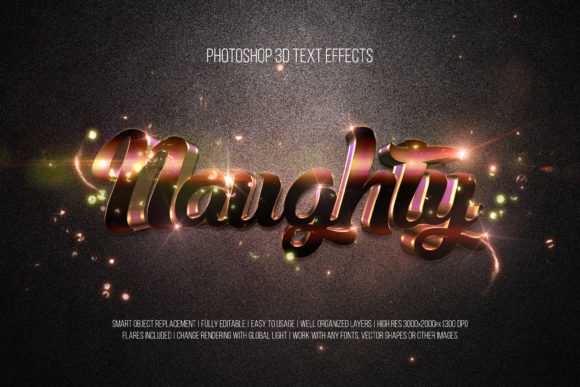 Print on Demand: Photoshop 3D Text Effects (Naughty) Graphic Layer Styles By DigitalPremium