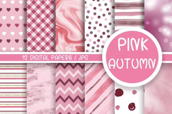 Pink Autumn Background Digital Papers Graphic Backgrounds By PinkPearly