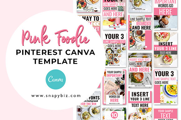 Print on Demand: Pink Foodie | Pinterest Canva Template Graphic Presentation Templates By SnapyBiz