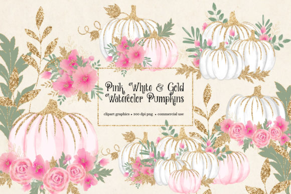 Print on Demand: Pink White and Gold Watercolor Pumpkins Graphic Illustrations By Digital Curio - Image 1