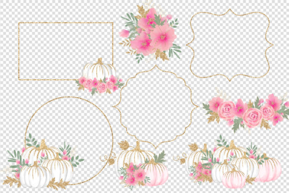 Print on Demand: Pink White and Gold Watercolor Pumpkins Graphic Illustrations By Digital Curio - Image 2