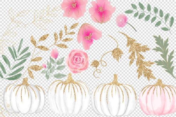 Print on Demand: Pink White and Gold Watercolor Pumpkins Graphic Illustrations By Digital Curio - Image 3